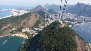 ombord på taubanen opp til toppen Pão de Açúcar i Rio