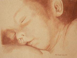 akvarel på sandpapir av Elin R.Steiro