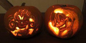Ursula og Cruella De Vil, gresskarlykter laget av Inga D