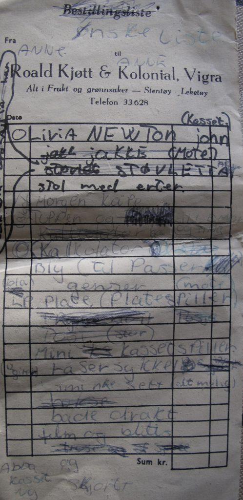 Storesøster Anne sin ønskeliste fra 1979 slik omtrent