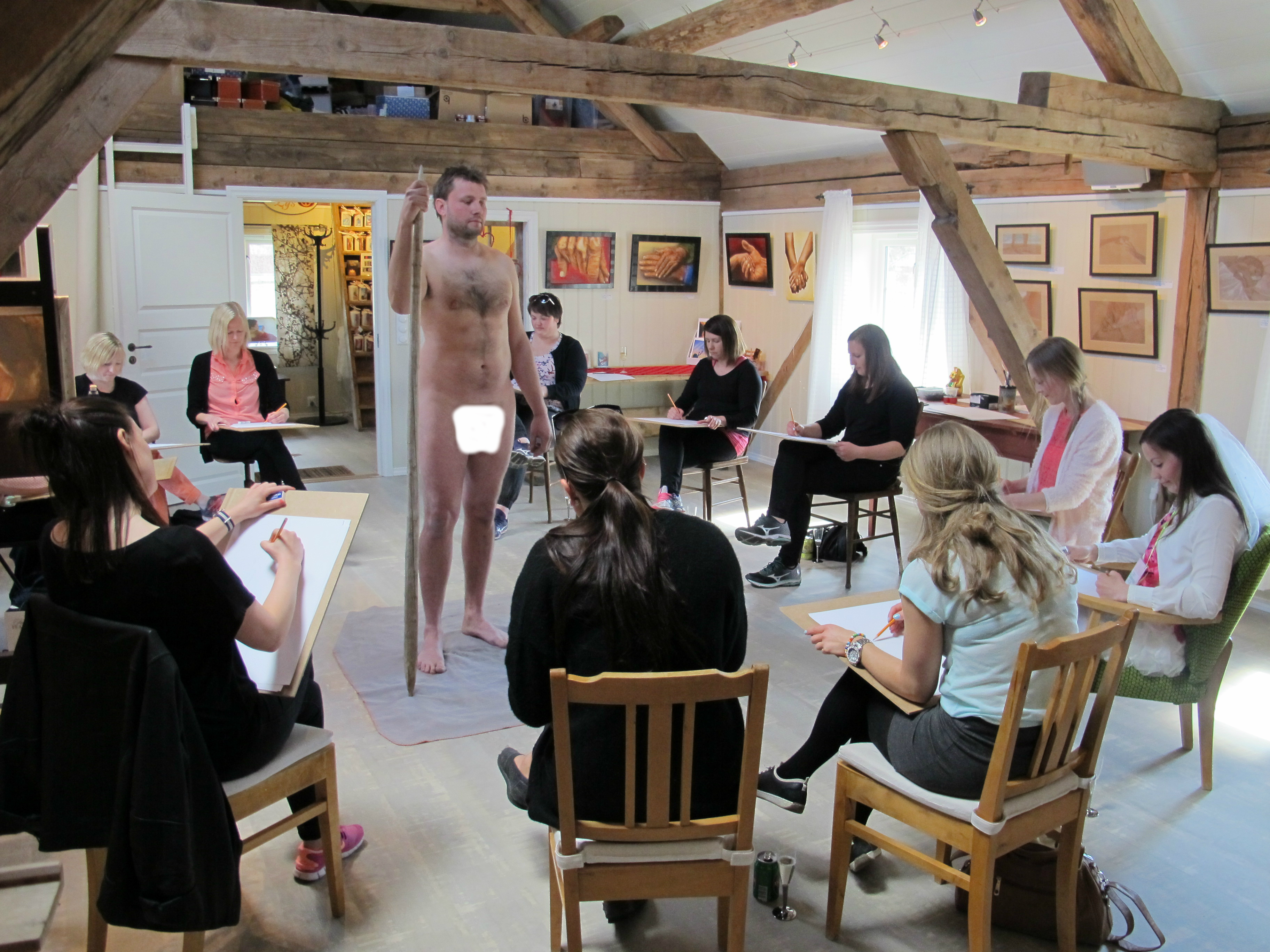Nude Male Art Class Before