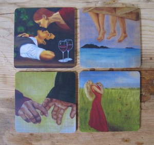 Inga-coasters, 9x9cm, hand made by Åry Trays
