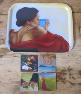 Inga-tray and -coasters, hand made by Åry Trays