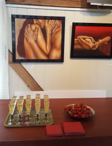 strawberries and drinks for the guests