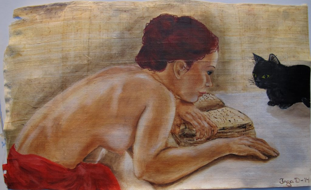 Oil on Egyptian papyrus